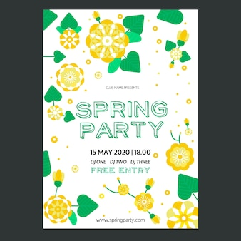 Spring party flyer template in flat design