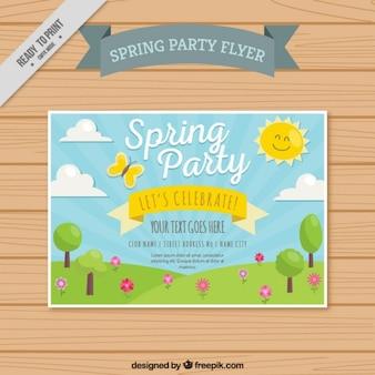 Весна партия флаер с милой пейзаж