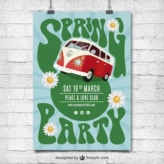 Spring party hippy poster