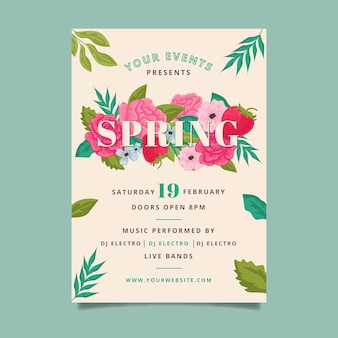 Spring party poster template design