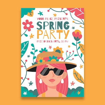 Spring party poster template in flat design