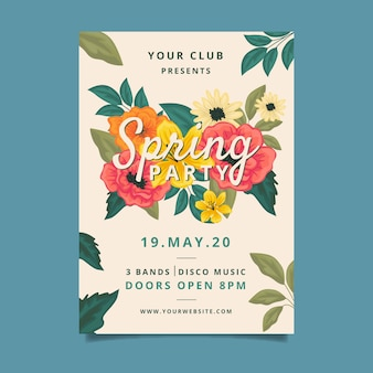 Spring party poster template style
