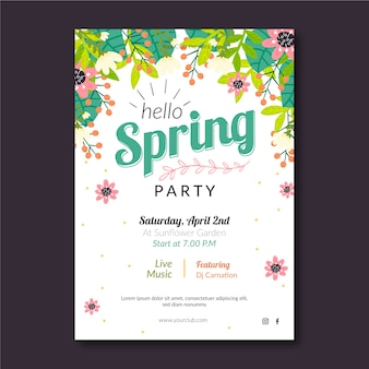 Spring party poster template