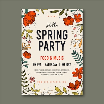 Spring party poster with frame of flowers