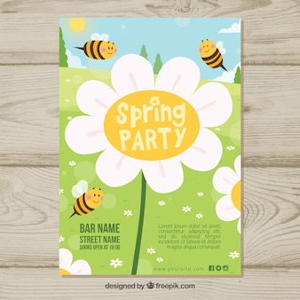 Spring party template with bees