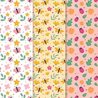 Spring pattern collection with butterflies and ladybugs