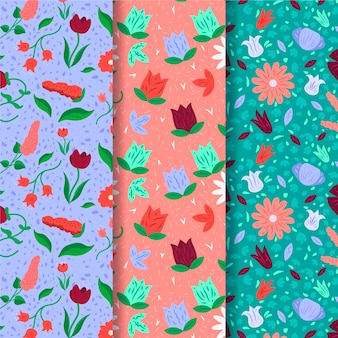Spring pattern collection with colorful flowers