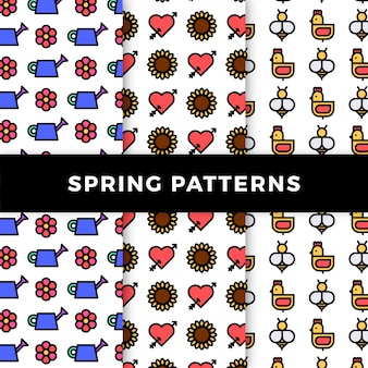 Spring pattern collection with flowers and chickens