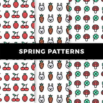 Spring pattern collection with mushrooms and fruits