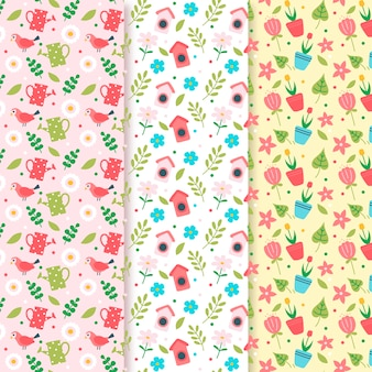Spring pattern collection with plants and flowers