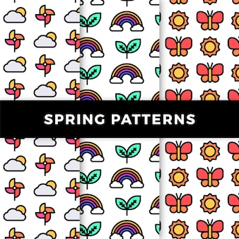 Spring pattern collection with rainbows and butterflies