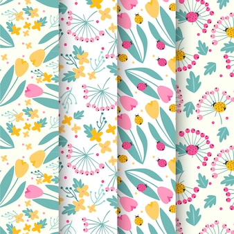Spring pattern collection with tulips and ladybugs