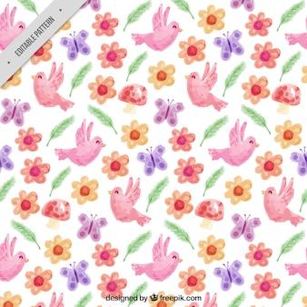 수채화로 그린 조류와 봄 패턴