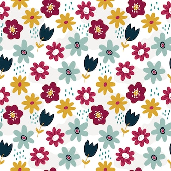 Spring pattern with colorful flowers
