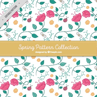 Spring pattern with hand-drawn flowers and insects