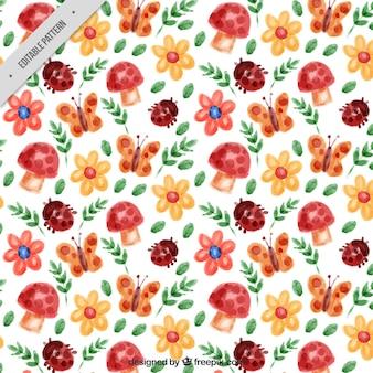 Весенний узор с акварельными цветами и насекомыми