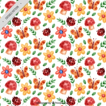 Spring pattern with watercolor flowers and insects