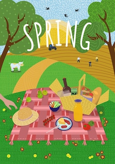 Spring picnic in rising sun nature lawn hills and trees cow grazes and swallows fly sowing campaign