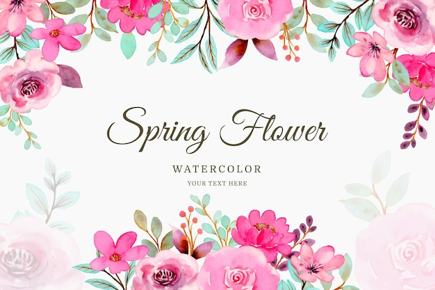 Spring pink flower background with watercolor