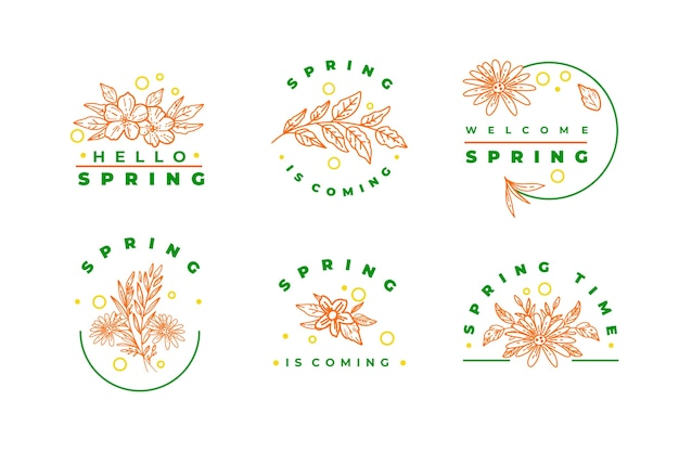 Spring pink flowers and green lettering badge collection