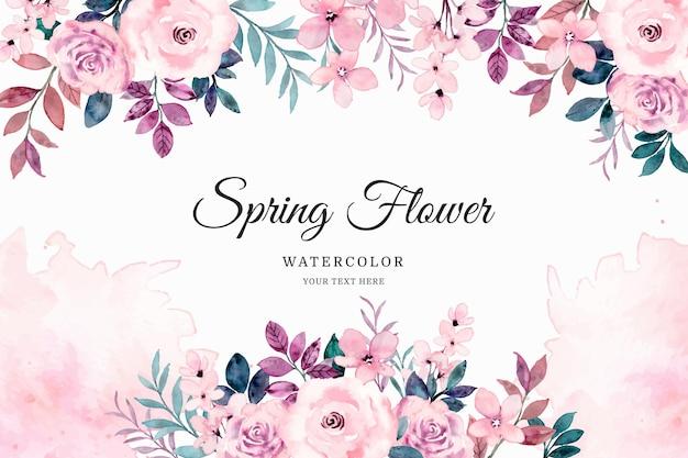 수채화와 봄 핑크 장미 꽃 배경