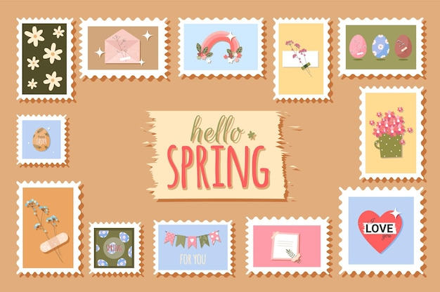 Spring postage stamps with flowers and cute elements