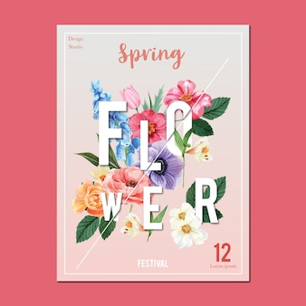 Spring poster fresh flowers, decor card with floral colorful garden, wedding, invitation