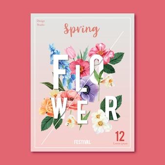 Spring poster fresh flowers