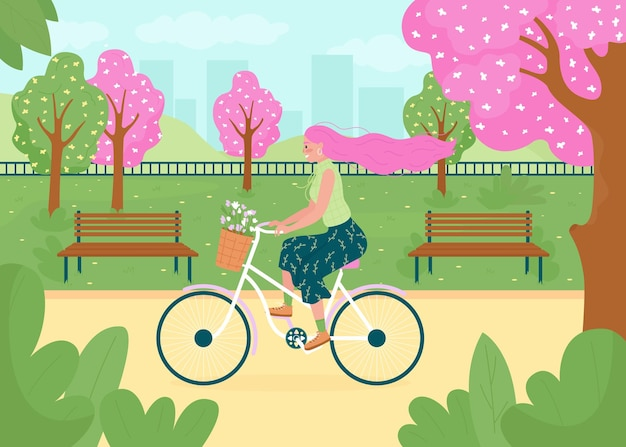 Spring recreational activity flat color illustration