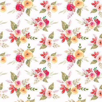春の赤と桃の花の水彩画のシームレスパターン