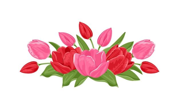 春の赤とピンクの花のチューリップの花束。