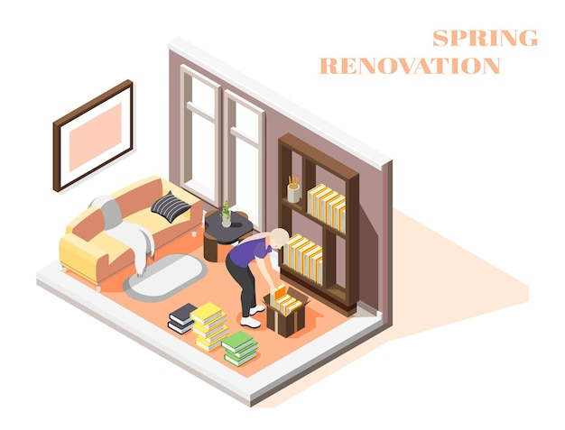 그녀의 방의 일반 청소를 수행하는 여자와 봄 리노베이션 아이소 메트릭 구성