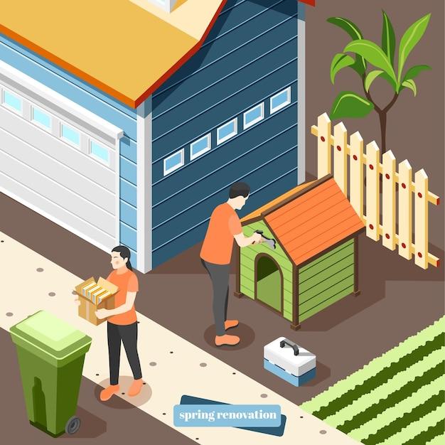 カントリーハウスで屋外で働く家族のカップルがゴミを捨てて犬小屋を修理する春のリフォーム等角図