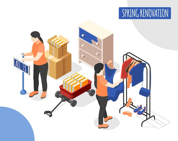 Spring renovation isometric illustration with saleswomen updating new collection of female clothes in shop trading hall