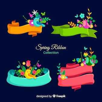 Spring ribbons with birds pack