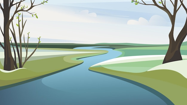 봄 강 풍경. 아름다운 자연 경관.