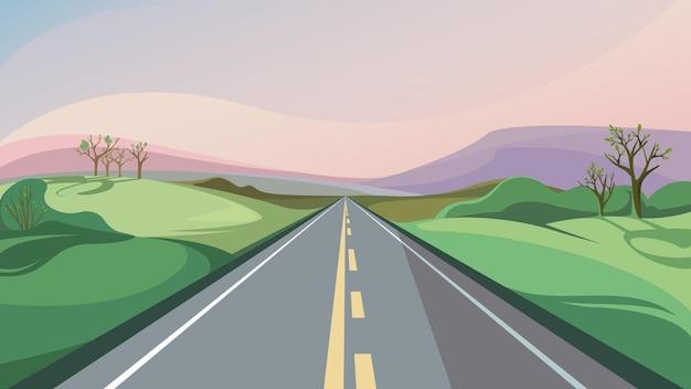 地平線に伸びる春の道。美しいアウトドアシーン。