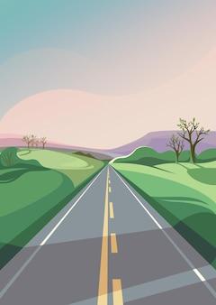 地平線に伸びる春の道。縦向きの屋外シーン。