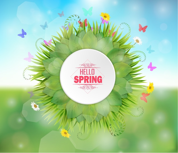 Spring round frame on bokeh background