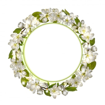 Spring round frame with cherry branch blossom.