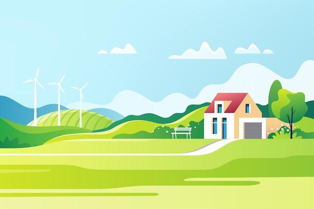 봄 농촌 풍경. 교외 전통 가옥. 가족의 집. 삽화.