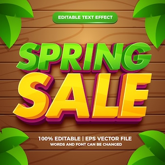 Spring sale 3d editable text effect template style