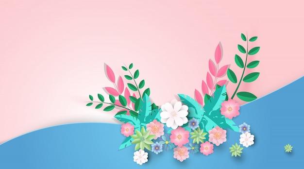 Spring sale background banner paper flower.