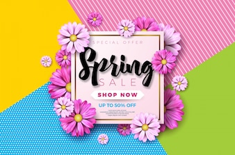 Spring sale background design with beautiful colorful flower