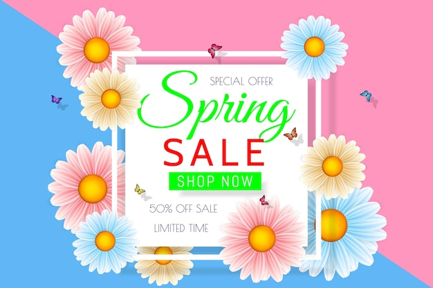 Spring sale background  with beautiful colorful flower.  floral design template for coupon, banner, voucher or promotional poster.