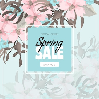 Spring sale background with beautiful colorful flower.