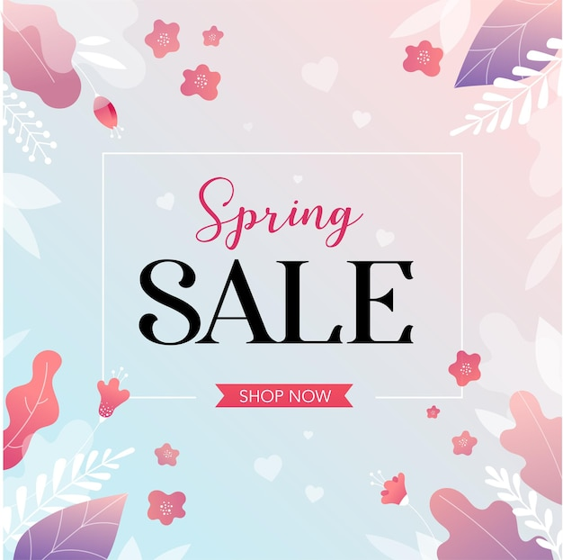 Spring sale background with beautiful colorful flowers. vector illustration.