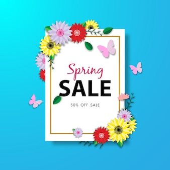 Spring sale background with beautiful flower