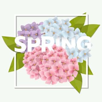 美しいピンクの花と葉の春販売の背景
