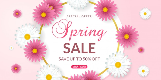 Spring sale background with beautiful white and pink flowers